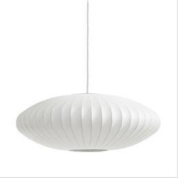 George Nelson Bubble Untertasse Lampe E27 LED Weiß Seide Pendelleuchte Weiß Silk Flat Ball Pendelleuchte Lampe Weiße Seide hängende Beleuchtung im Angebot