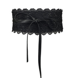 Band Belts UK - 2018 New Black White Wide Corset Lace Belt Female Self Tie Waistband Belts for Women Wedding Dress Waist Band