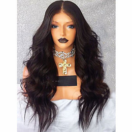 synthetic natural middle part wigs 2019 - High Quality 180% Density Long Wavy Black Wig Middle Part Heat Resistant Glueless Synthetic Lace Front Wig With Baby Hai