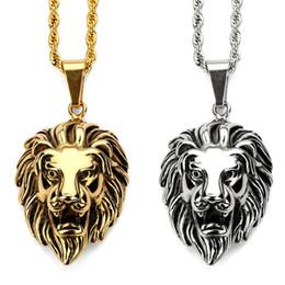 Discount vintage lion pendant - 2018 Fashion Animal Lion Head Men's Vintage King Pendant Necklace Gold Silver Color Hip Hop Fashion Jewelry For Men