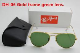Sun Glasses Black Australia - 1pcs High Quality Classic Pilot Sunglasses Designer Brand Mens Womens Sun Glasses Eyewear Gold Metal Green 58mm Glass Lens Black Case