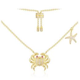 $enCountryForm.capitalKeyWord UK - wholesale True 925 Sterling Silver Micro Cubic Zirconia Stones Gold Color Sea Crab Starfish Pendant Necklace Women Luxury Jewelry