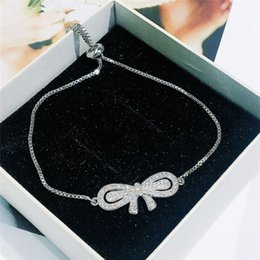 Charming Women Bracelet Chain For Party Wedding High Quality White Gold Plated CZ Bowknot Hot Birthday Gift Girl Friend