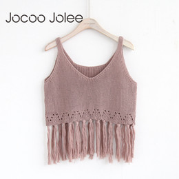 bbce811e6b908 black white v neck crop top 2018 - Jocoo JoSexy Fringe Trim Knit Crop Tank  Tops
