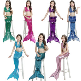 Discount mermaid suit for swimming - Girls Clothing Sets 2018 New Summer Girls Dress Little Mermaid Tail Bikini Suits Swim Costume 3PCS For 2-7 Years