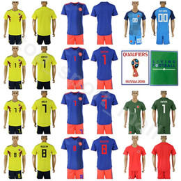 9e920b3cd38 2018 World Cup Soccer 7 Carlos Bacca Colombia Jersey Set 8 Abel Aguilar 1  David Ospina Football Shirt Kits Yellow Away Blue With Short Pant
