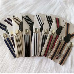 novelty gifts boys Canada - Children Striped Design Fashion Suspenders Baby Boys Suspenders Clip-on Y-Back Braces Elastic Kids Suspenders Gift