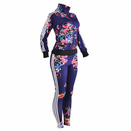 Deux pièces Ensemble des femmes Survêtement Automne Crop Top et Pantalons Zipper Casual Sweatsuit Long Sleeve Print Printemps Tenues Set Femme