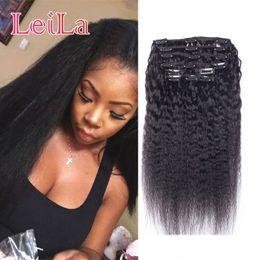 KinKy hair clips online shopping - Peruvian Human Hair Pieces SET Kinky Straight Clip In Human Hair Extensions Natural Black Coarse Yaki Human Hair Weaves