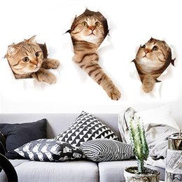$enCountryForm.capitalKeyWord Australia - Lovely Removable Cartoon 3 D Cat Pattern TV Backgroud Bathroom Toilet Sticker Wall Sticker Home Decor Factory Wholesale
