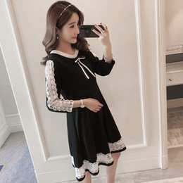 $enCountryForm.capitalKeyWord Canada - Spring Korean Fashion Maternity Dress Clothes for Pregnant Women Color Block Patchwork Hollow Out Lace Pregnancy