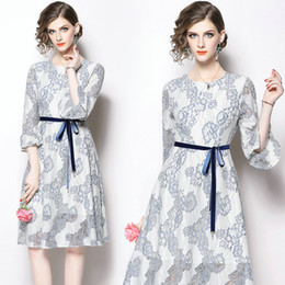 2d1fd7b7d2 Three Quarter Flare Sleeve Lace Womens Dress Fashion Casual Prom Party  Evening Dress Hollow Out Lace Full Dress 2018 Autumn Dresses
