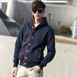 Wholesale mens jacket models for sale – winter Fashion Men Sweatshirts Men Solid Color Hoodies Fashion Brand Mens Sweater Male Models Men s Jacket Hooded Sweater Jackets