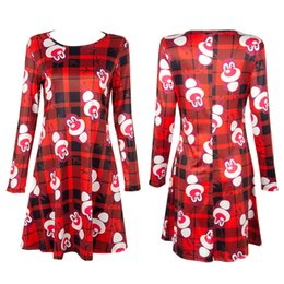 Barato Barato Senhora Vestidos De Inverno-Venda Por Atacado baratos 2017 Winter Ladies Xmas de alta qualidade de manga comprida Red Deer Cartoon Print Christmas Print One Piece Dress for Women