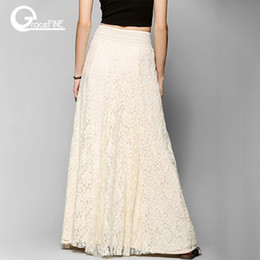 Wholesale long skirts for sale - Group buy white cotton long lace skirt Summer Beach Wedding Skirt Retro Wedding Look Pleated Tulle Skirts Female School Maxi