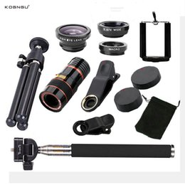 Discount clip wide lens - Kogngu 10 in 1 Kits 12x Zoom Telephoto Lens Fish Eye Lens Wide Angle Macro Lenses Clip TrCell Phone Camera Selfie Stick