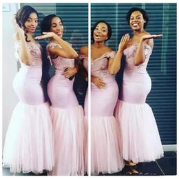 $enCountryForm.capitalKeyWord NZ - 2019 New Mermaid Bridesmaid Dresses Off The Shoulder Lace Appliques Formal Wear Slim Tulle Wedding Guest Dress Maid Of Honor Dress