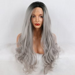 Discount lace front grey wig - Fantasy Beauty Ombre Gray 2 Tones Synthetic Lace Front Wig Dark Roots Long Natural Wave Silver Grey Replacement Full Wig