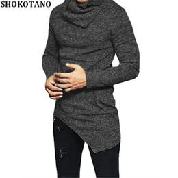 e55773cdfa8 wholesale Men s Long Sleeve Slim Fit T Shirt Men Side Pocket Cowl Neck SWAG  Irregular Hem Hipster Hip Hop T-Shirt