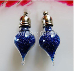 vial charms 2019 - 100pieces water drop shape glass vial pendant glass pendant charms mini wishing bottle handmade fashion jewelry findings
