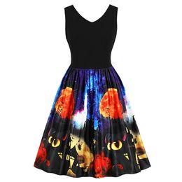 $enCountryForm.capitalKeyWord Canada - Wipalo Halloween Vintage Pumpkin And Bat Printed Pin Up Dress Sleeveless V Neck Knee Length Swing Dress Retro 1950s Vestidos