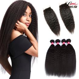 Discount kinky weave bundles closure - Brazilian Kinky Straight Hair Weave Bundles With Closure Human Virgin Hair 3 Bundles With Lace Closure yaki Human Hair E