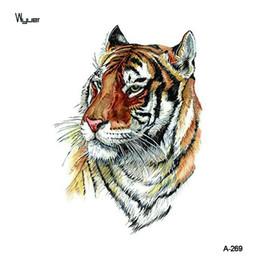 206bf1ef757 WYUEN Tigre Temporaire Tatouage Autocollant pour Hommes Imperméables Faux  Corps Art Animal 9.8X6 cm Mode Femmes Chaude Conception Autocollant A-269