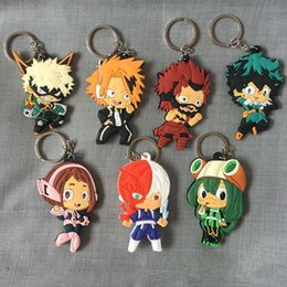 Hot Sale20pcs My Hero Academia Keychain Double Sided Chibi Cartoon Keyrings Cute Anime PVC Key Chians Accessories