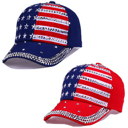 6957088567a Big children baseball caps Summer 4th of July American Flag Hat teenager  Fashion Rhinestone cowboy Cap Leisure Star stripes Sun Hats C4341 cheap  american ...
