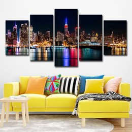 Discount paintings new york - Canvas HD Prints Posters Living Room Wall Art 5 Pieces New York City Nightscape Paintings Building Pictures Home Decor