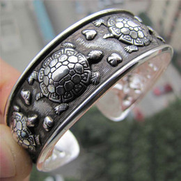 $enCountryForm.capitalKeyWord Australia - 1 Pc Adjustable Women Cuff Bangle Antique Silver Plated Tibetan Turtle Shaped Bracelets Jewelry Gift