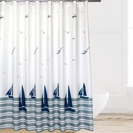 Hot Sale Europe Style Beach Sailboat Seagull Pattern Waterproof Shower Curtain Polyester Fabric Home Bathroom Decor White Navy