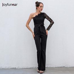 b192167c383e Joyfunear 2017 Summer new women one shoulder jumpsuit sexy boot cut  celebrity party elegant print lace black jumpsuits vestido