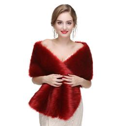 Wholesale CMS58 Bridal fur stole Vintage stole red faux fur shrug High quality faux fur bridal wrap perfect for brides bridesmaids and events wea