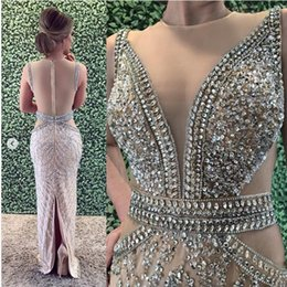Wholesale Sparkly Luxurious Sexy Evening Dresses Sheer Neck Beaded Crystals Prom Dresses Charming Pageant Formal Party Gowns