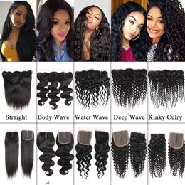 Lace frontaL Light brown online shopping - Onlyou Hair Kinky Culry Remy Human Hair Weaves Closure Lace Frontal Straight Body Deep Water Wave Brazilian Virgin Hair Top Closure Vendors