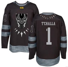 Ice Hockey Youth Jersey UK - T Challa  1 The Black Panther Hockey Jersey 0d93b1994