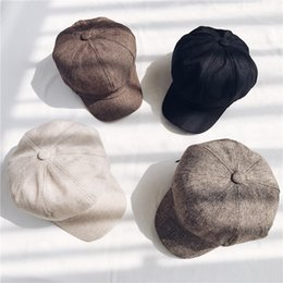 6f25f2482f303 Autumn And Winter Retro Hat Cotton And Linen Newsboy Beret Solid Color  Painter Female Cap Warm Fashion Octagonal Caps 12lh hh