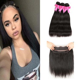 hair vendors NZ - 360 Full Lace Frontal Closure With 3 Bundles Malaysian Straight Human Hair Vendors Unprocessed Malaysian Human Hair Weaves Best Quality