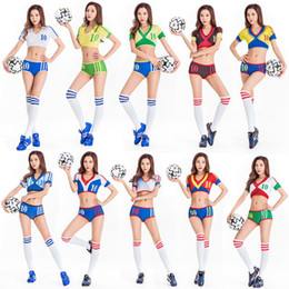 a91e66ad6 2018 Nightclub Sexy Football World Cup Brazil Germany Russian Team Cosplay Cheerleader  Cheer Girls Fans Costume Party DS Costume Bikini Set