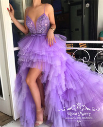 $enCountryForm.capitalKeyWord Australia - 2020 Lavender High Low Prom Dresses Vintage Lace Sequined Beaded Tiered Tulle Skirt Plus Size Arabic African Formal Pageant Evening Gowns