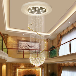 Discount hotel lobby chandeliers - Jingmeng Double Staircase Chandelier Villa Hall Hotel Lobby Living Room Staircase Crystal Staircase Long Chandelier