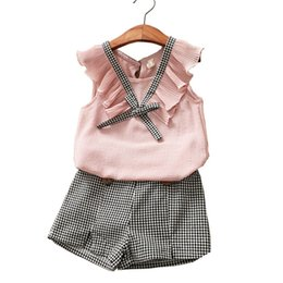 4t clothing 2020 - Summer Fashion Girls Clothing Sets Fashion Solid and Plaid Kids Clothes Brand Chiffon Vest T-shirt + Plaid Shorts Clothi
