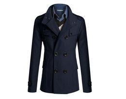 $enCountryForm.capitalKeyWord UK - S-XXXL Navy Blue Korean Men Woolen Coat Fashion Slim Wild double-breasted Coat Business Men Lapel Jacket Pocket #671867