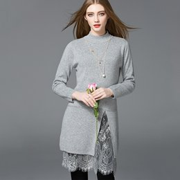 Lace Knit Stitches Canada - fashion women dress new lace stitching split hem sweater dress long sleeve knitted dress mid length pullover 2017 winter dresses