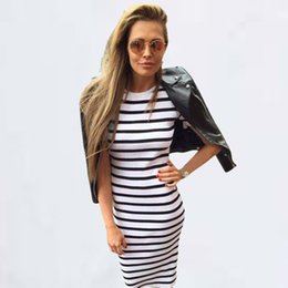 $enCountryForm.capitalKeyWord UK - Europe and the United States relaxed black and white stripe round neck dress, leisure autumn long selling hot dress
