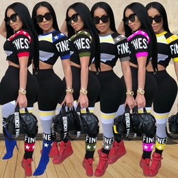 Discount army yoga pants - Women Summer Sexy Club Activewear Stretchy Outfits Trendy Pants T-Shirts Sports Sets Print Letter Crop Top Leggings Casu