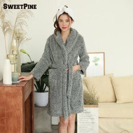 Women homeSoft Warm Flannel Bath Robe Nightgown Women s Long Sleeve  Sleepwear Dressing Gown Winter Home Leisure Wear 1163459ce