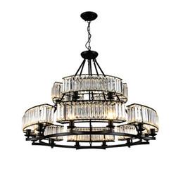Cottage Kitchen Black Iron Lighting Australia - Crystal chandeliers living room bedroom black pendant lamps retro minimalist country restaurant lights American led pendant chandelier
