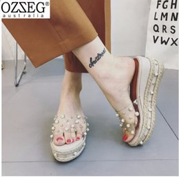 Summer Hot Transparent Jelly Sandals Women Pearl Rivet Design Roman  Gladiator Sandals Woman Beach Slippers Platform Wedges Shoes 8f0d8728ac0a